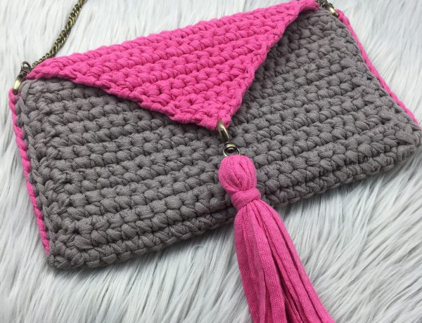 crochet clutch purse with strap and tassel