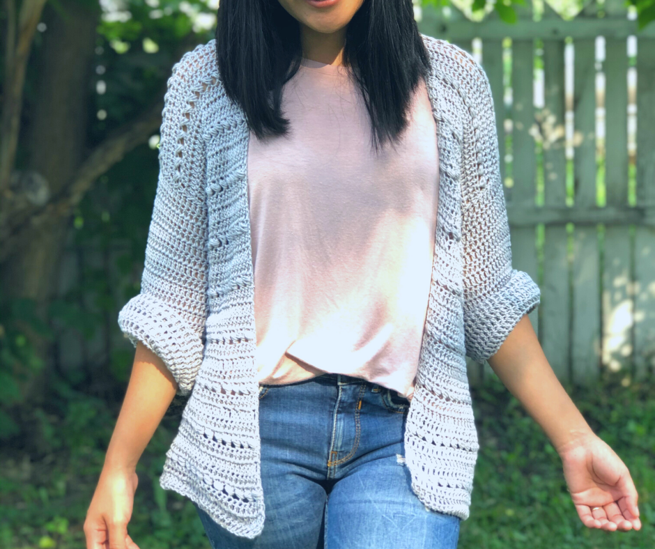 crochet bead stitch cardigan pattern. Included US women's sizes XS-XXL with written pattern and step by step video tutorial