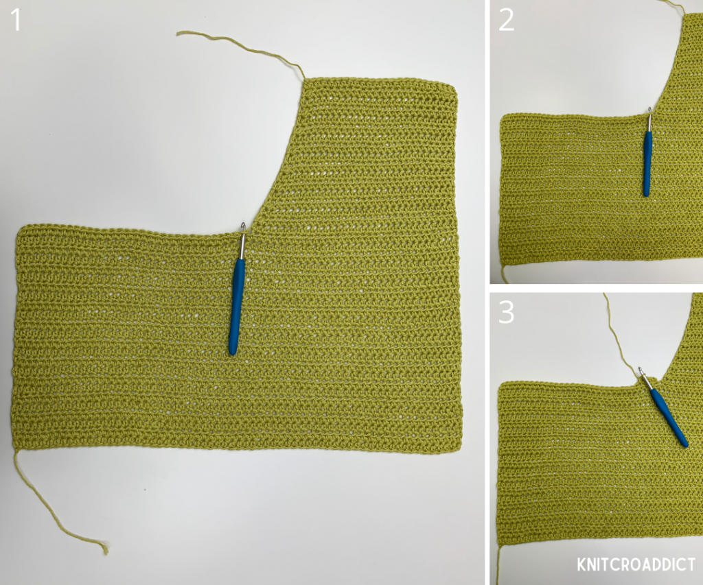 crochet hoodie free pattern and photo tutorial demonstrating crocheting the front panel