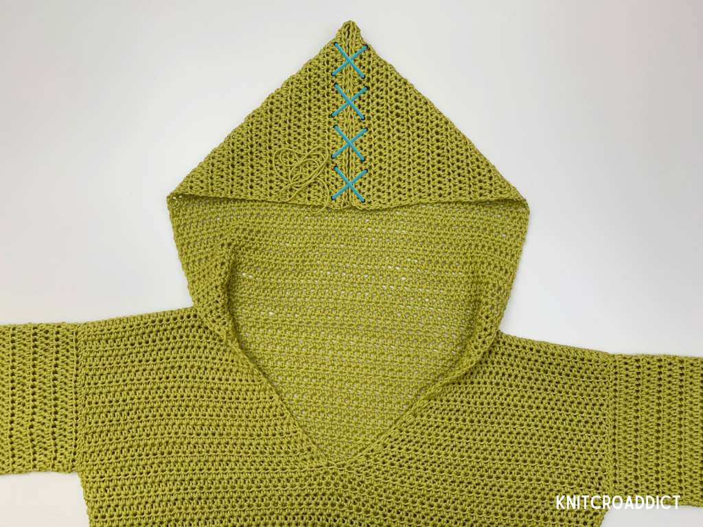 Simple crochet hoodie pattern photo tutorial sewing the hood seam