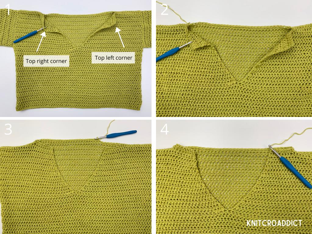 crochet hoodie free pattern and photo tutorial demonstrating how to begin crocheting the hood