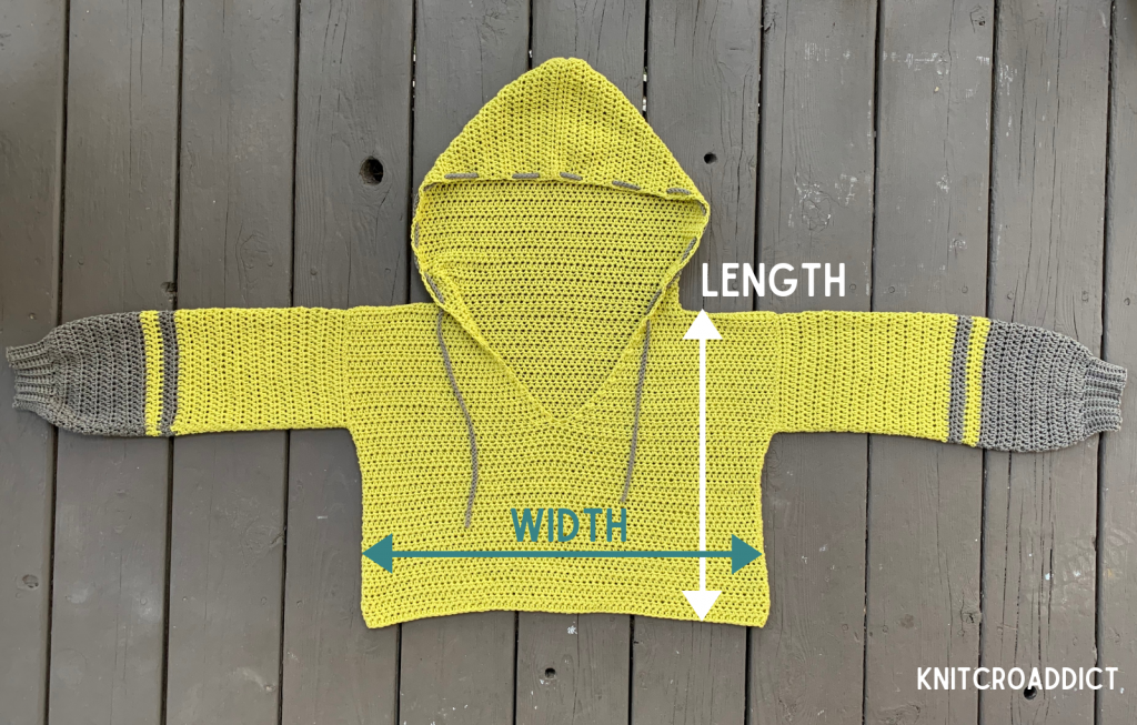 crochet hoodie free pattern and photo tutorial demonstrating crocheting the finished dimensions and look