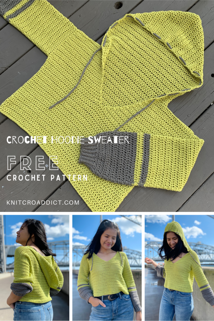 crochet hoodie free pattern and photo tutorial demonstrating the finished project