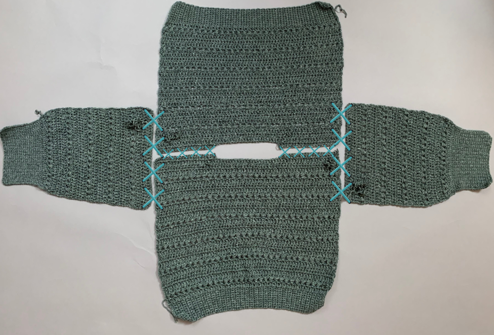 Easy crochet sweater pattern step by step photo tutorial joining all the panels and sleeves