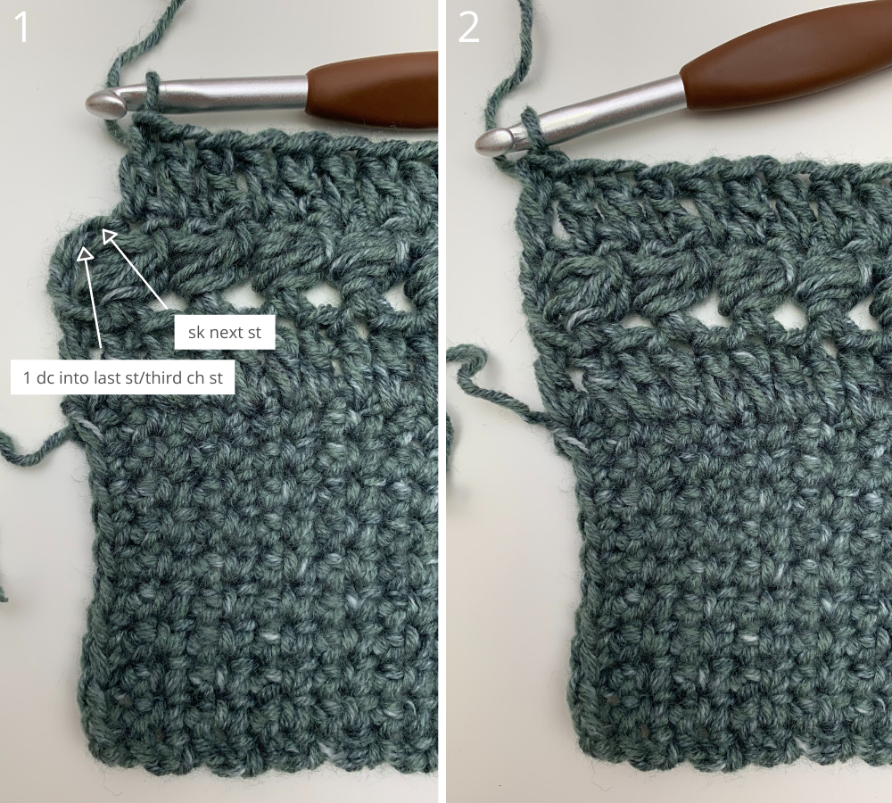 Easy crochet sweater pattern step by step photo tutorial row 3