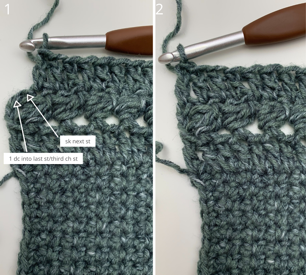 Easy crochet sweater pattern step by step photo tutorial beginning the sleeves