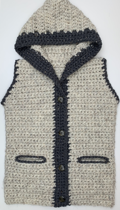 finished hooded crochet sweater vest  with pockets and buttons