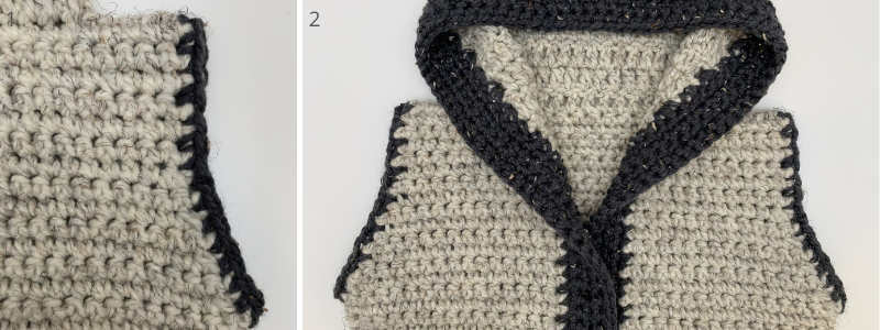 adding the accent to the shoulder cuffs on your crochet sweater vest