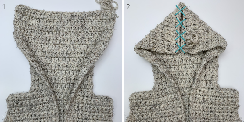 sewing up the hood top on your hooded crochet sweater vest tutorial