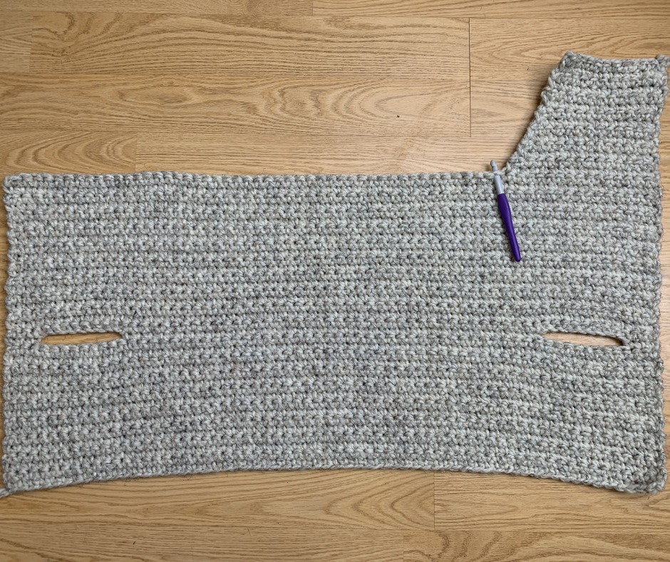 beginning to add shoulders the the first panel of the hooded crochet sweater vest upper back tutorial