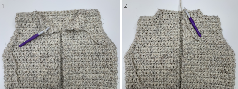 adding the hood to your hooded crochet sweater vest