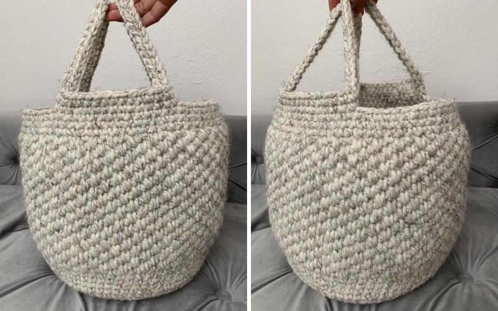 adding the straps to the crochet basket bag, crochet bag tutorial