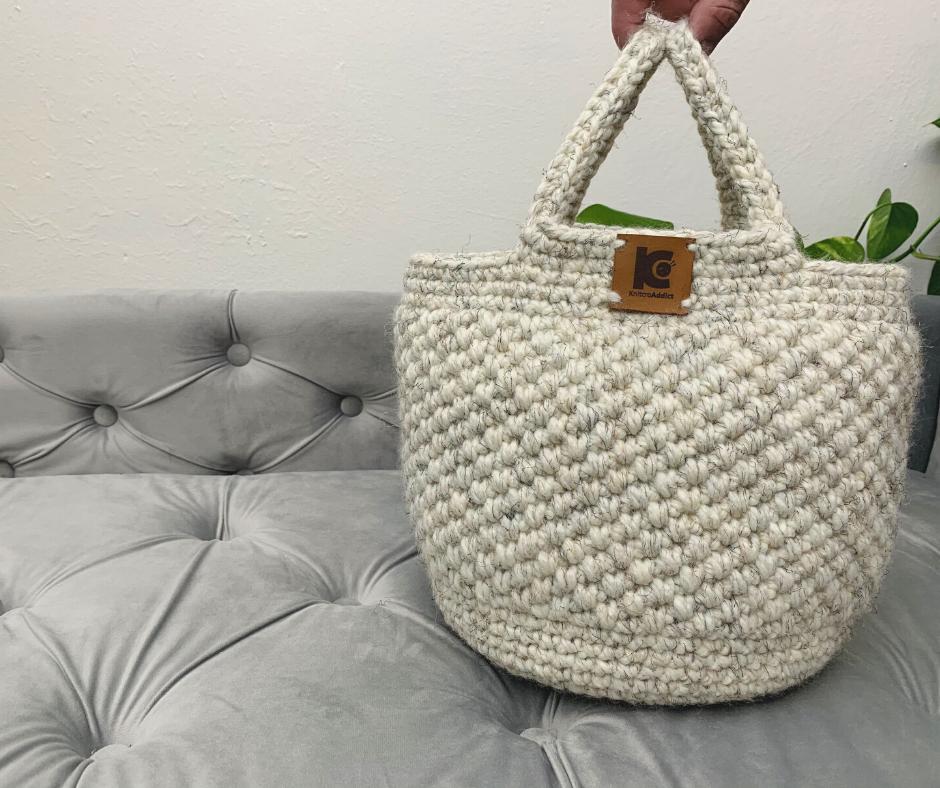 crochet basket bag finished project