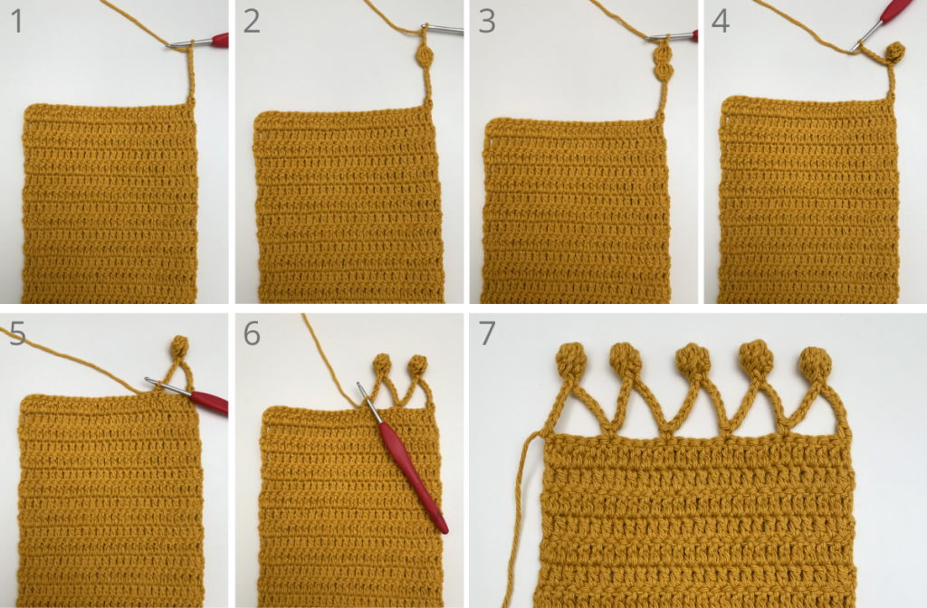 adding pom pom border to the crochet pouch body