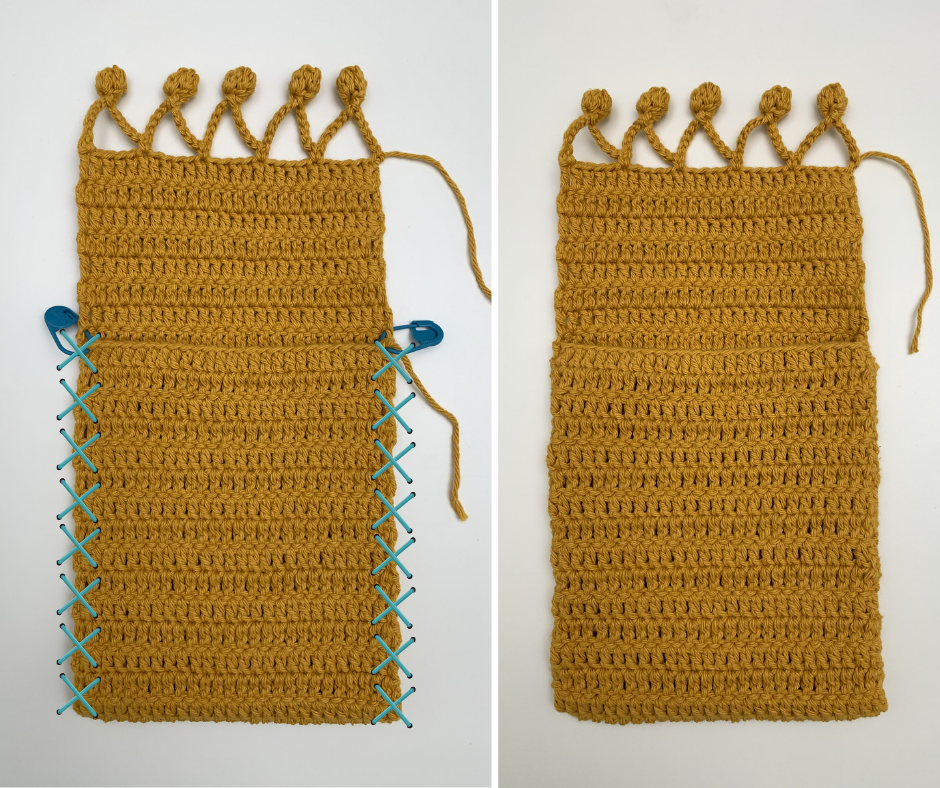 photo instructions for sewing the side seams of your crochet pouch