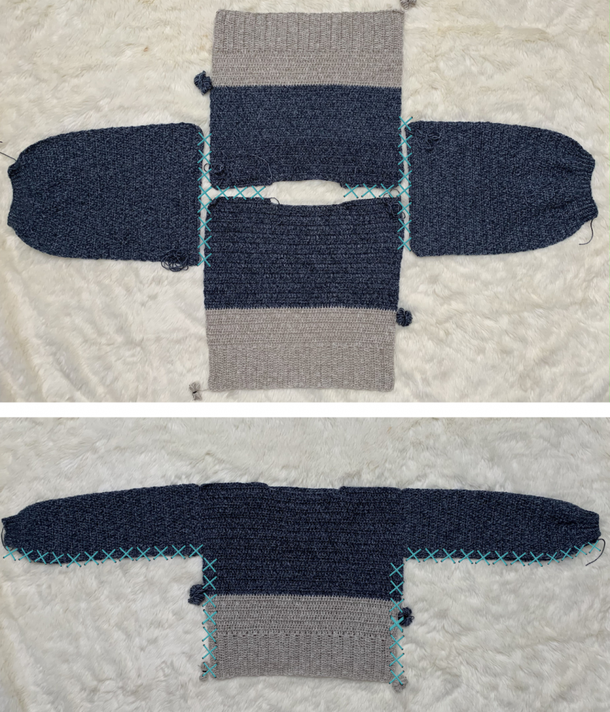 joining the panels of the crochet turtleneck pattern together