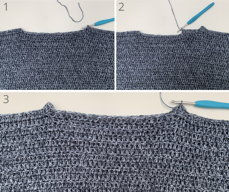 crocheting the collar