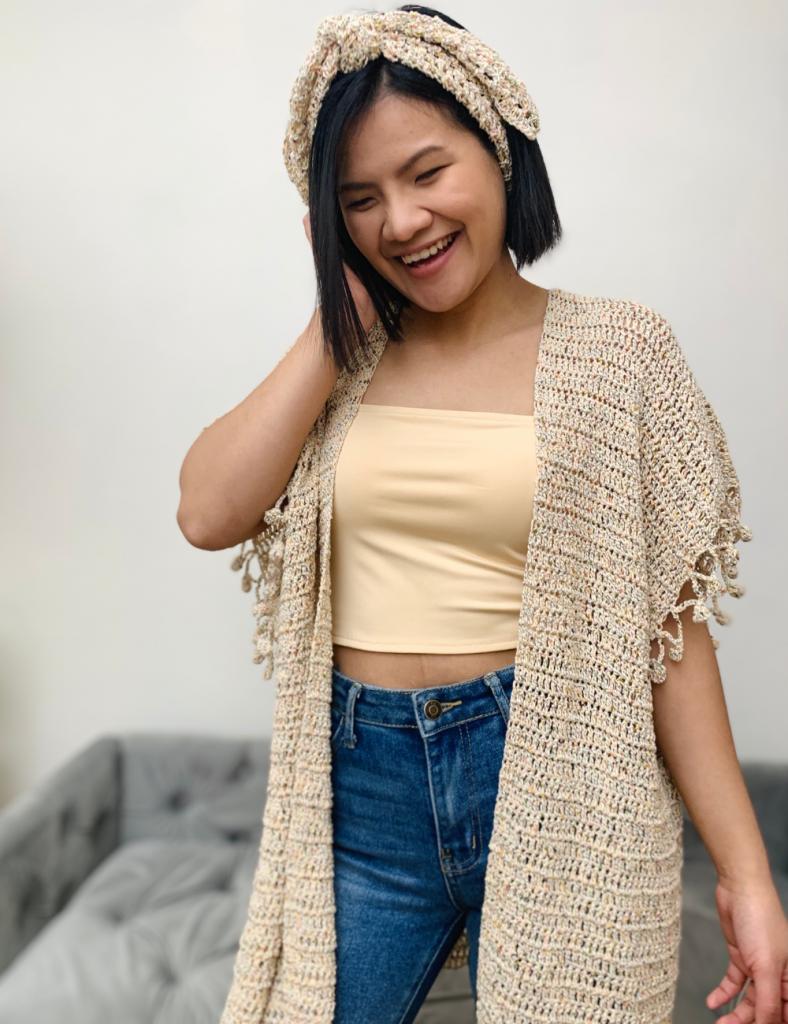 Matching crochet headband and kimono cardigan