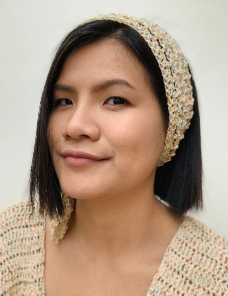 Wearing my crochet headband