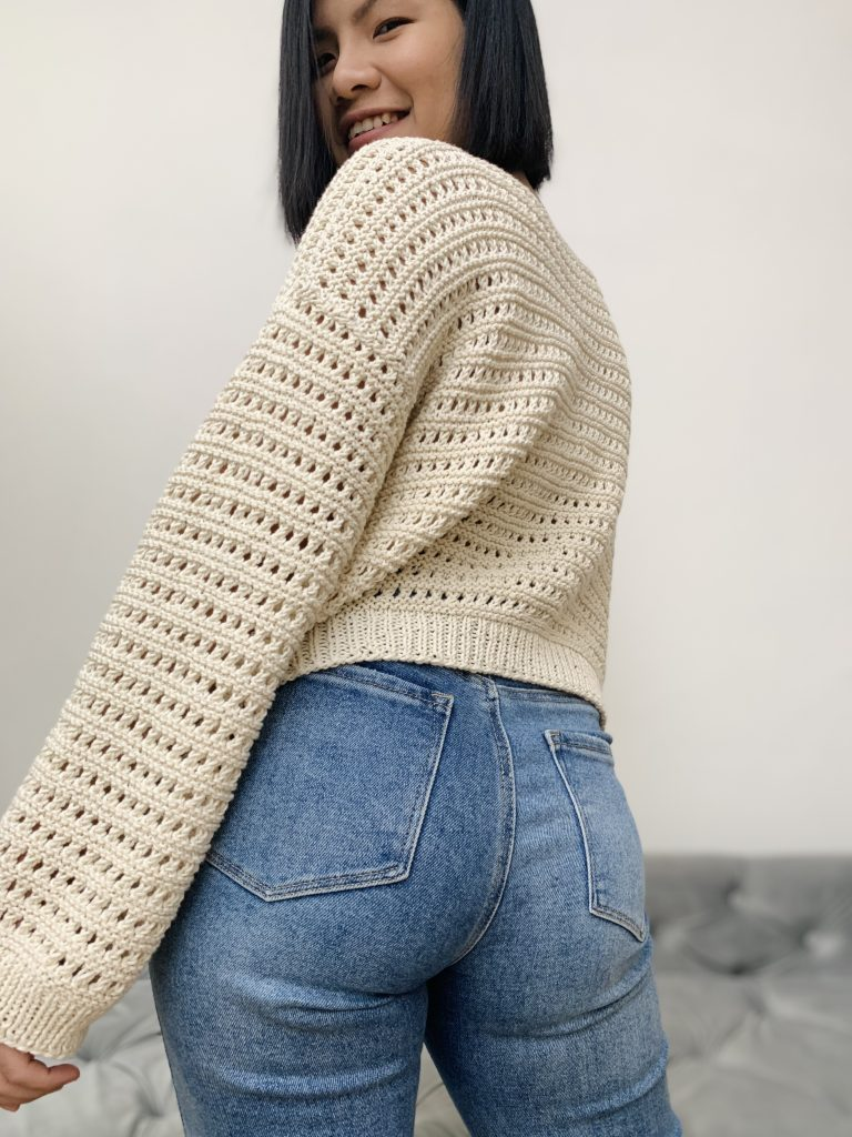 The back of the sweater