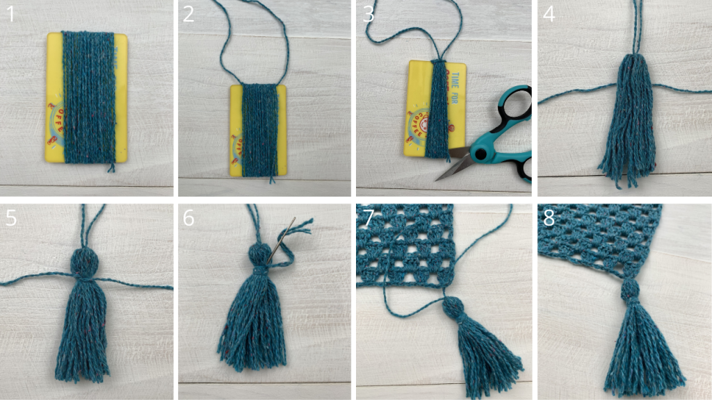 photo tutorial for making the tassels to add to your crochet blanket pattern