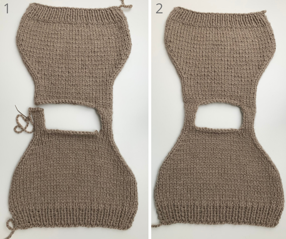 how to knit a sweater vest tutorial, sewing the shoulder seams together
