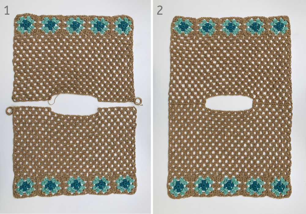 sewing the crochet crop top pattern panels together