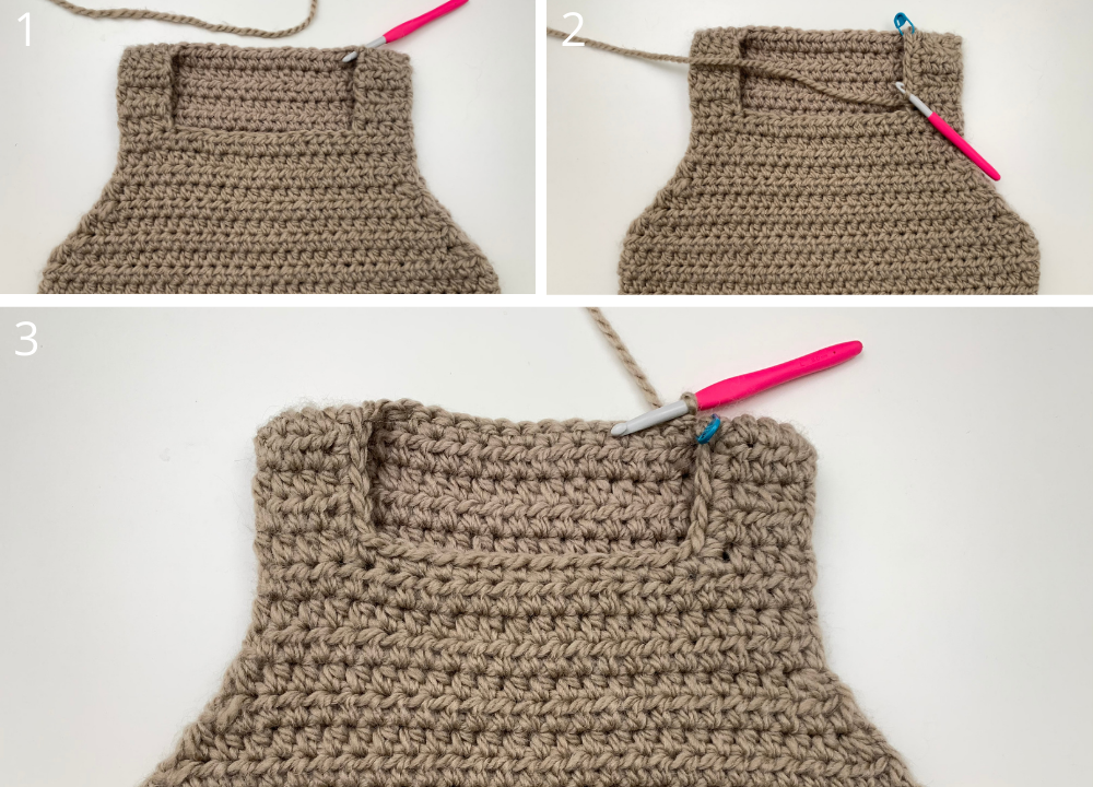 crocheting the neck hole and finishing up the crochet sweater vest pattern