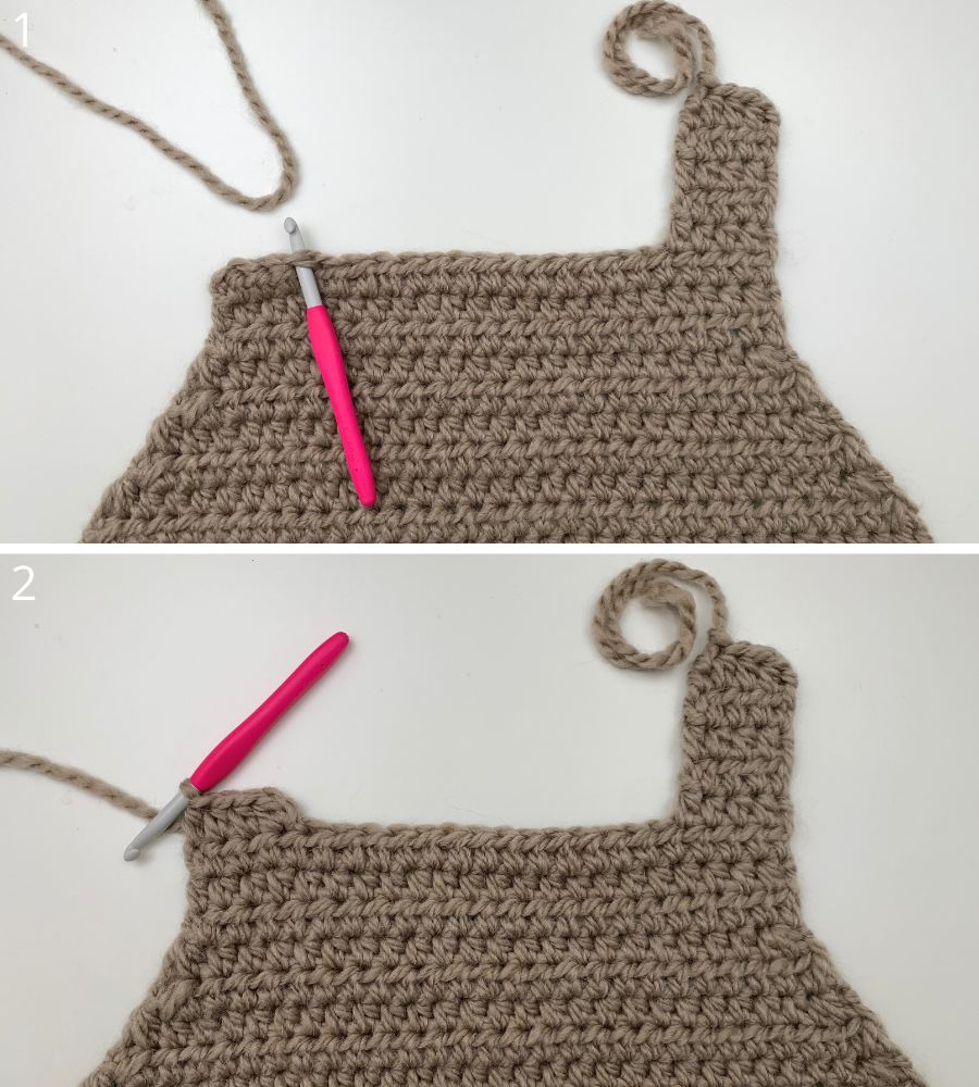 Adding the upper parts to your crochet sweater vest again