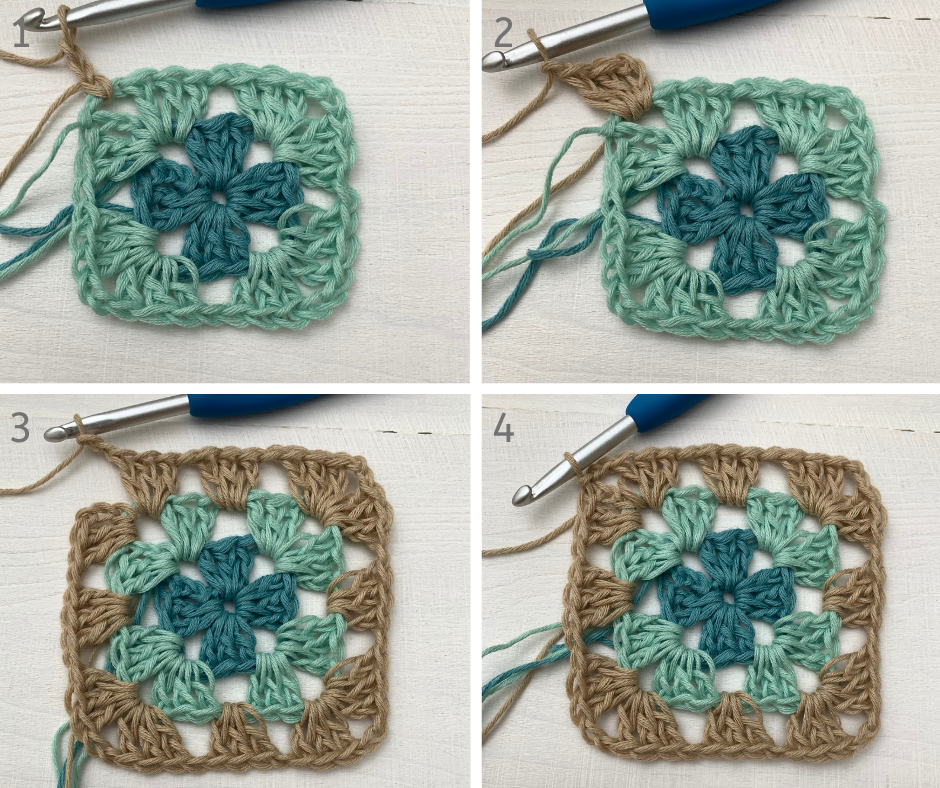 finishing the first crochet squares