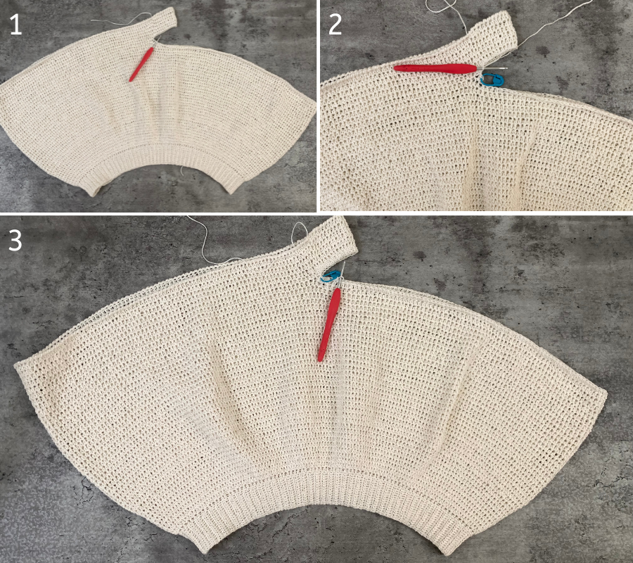 adding the right leg to the crochet shorts