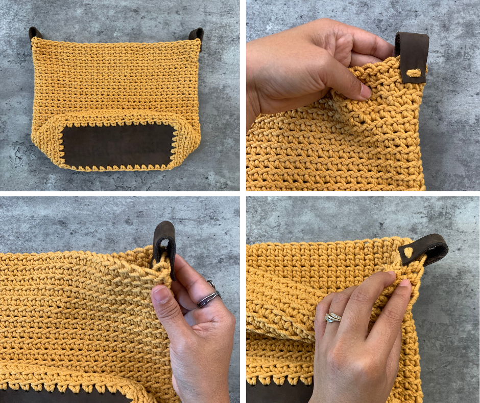bag with leather strap loops sewn in