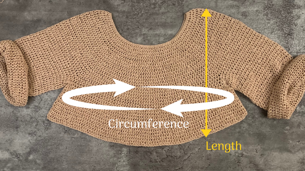 crochet pullover sweater measurements