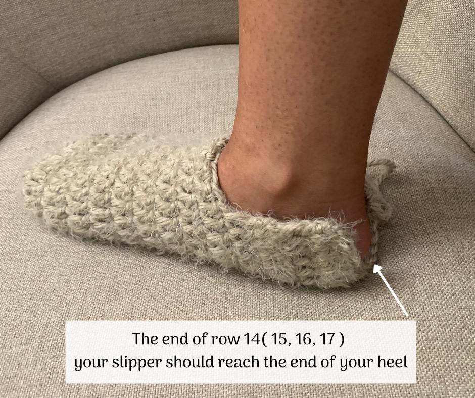 Finishing the crochet slipper heel part